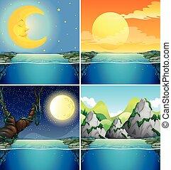 scene natura, con, luna, notte