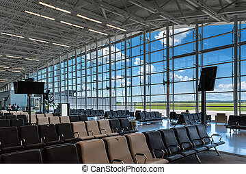 scene of airport boarding gate