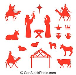 Scene of baby Jesus in the manger. - Set of Silhouettes....