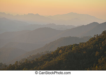 Scene of beautiful mountains on sky background
