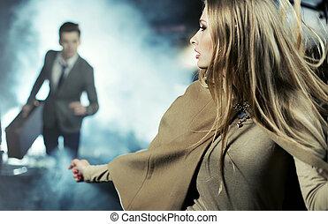 Scene of breaking up of two lovers - Scene of breaking up of...