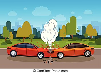 Scene Of Car Accident Danger On Road Concept