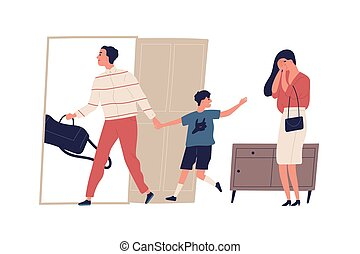 Scene of family divorce and child custody dispute. Crying mother, and father leaving with son. Husband and wife break up. Problems in relationship. Flat vector cartoon illustration isolated on white