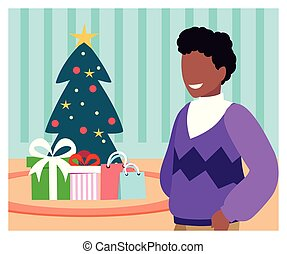 scene of man with christmas tree and gift