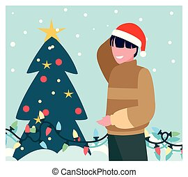 scene of man with christmas tree
