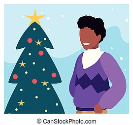 scene of man with christmas tree