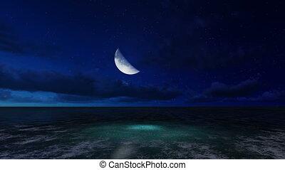 scene of moonlit night on a sea