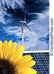 scene of nature and alternative energies