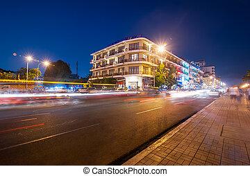 Scene of night life in Phnom Penh, Cambodia - Scene of night...