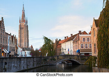scene of old town, Bruges - scene of old town with tower of...
