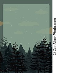 Scene of pine forest at night