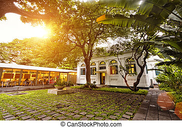 scene of restaurant front yard in sunset