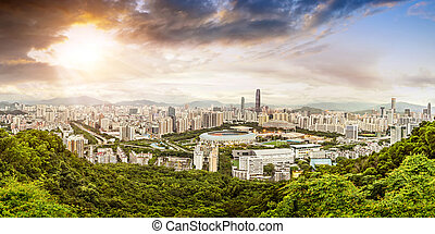 scene of shenzhen special economic zone, China - Panoramic ...