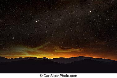 starry night sky at sunset