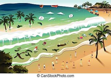 A vector illustration of giant tsunami waves crashing beach