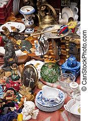 scene on a flea market in aachen, germany