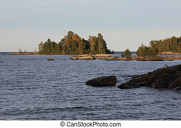Scene on a late summer day at the shore of Lake Vanern, Sweden.
