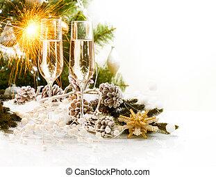 scene., ontwerp, jaar, nieuw, champagne, kerstmis kaart