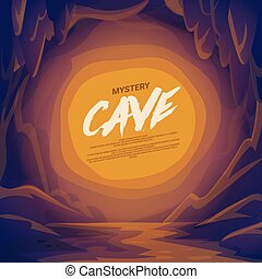 scene., paesaggio., caverna, montagna