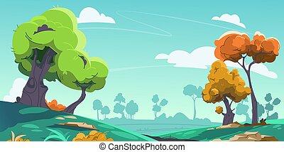 scene., parc, nature, printemps, dessin animé, paysage, paysage, arrière-plan., campagne, collines, vecteur, environnement, prés, vert