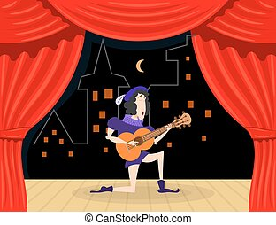 Scene performance with singer serenades. Cartoon theater, an...