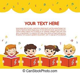 scene., song., filles, chœur, garçons, musique, publicité, gabarit, brochure., chant