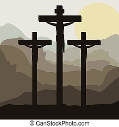 scene sunset with crucifix in hill