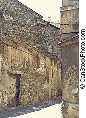 scene., urbain, couloir, vieux