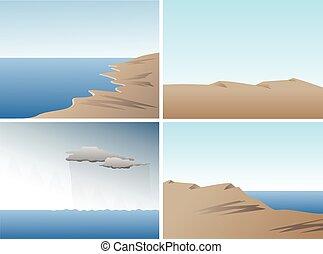 Scene vector set with ocean, sand dunes and hills