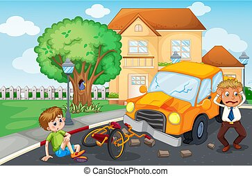 Scene with accident on the road