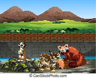 Scene with animals in the