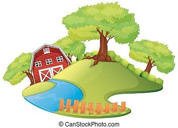 Scene with barn in the farm