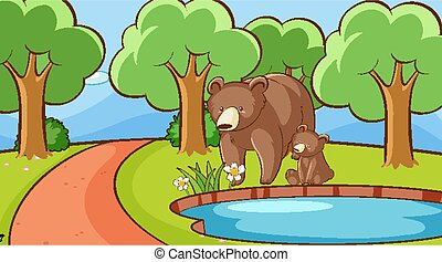 Scene with bears by the pond