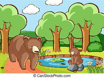 Scene with bears in forest