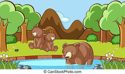 Scene with bears in the forest