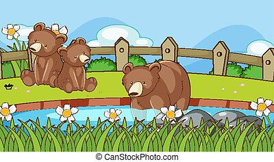 Scene with bears in the park