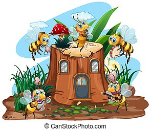 Scene with bees flying around the log house in the garden