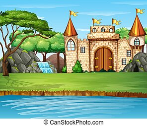 Scene with big castle by the waterfall