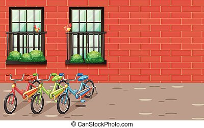 Scene with bikes parking on the road