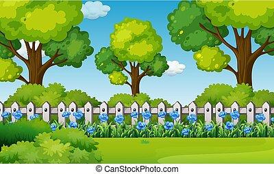 Scene with blue flowers in garden
