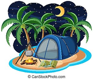 Scene with blue tent on the island at night