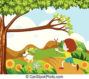 Scene with boy chasing dog in park