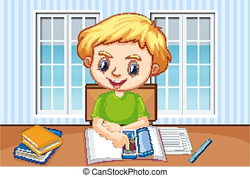 Scene with boy doing homework at home