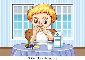 Scene with boy eating healthy breakfast at home