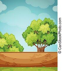 Scene with brick wall and tree