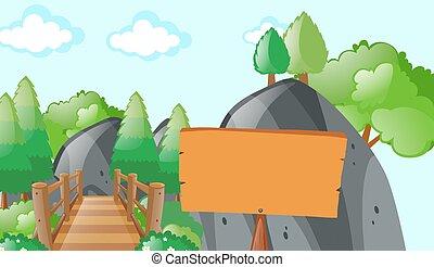 Scene with bridge in park