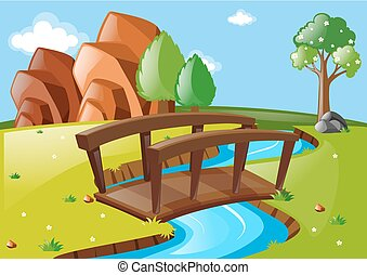 Scene with bridge in the park