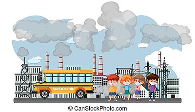 Scene with cars and factory buildings making dirty smoke in the city