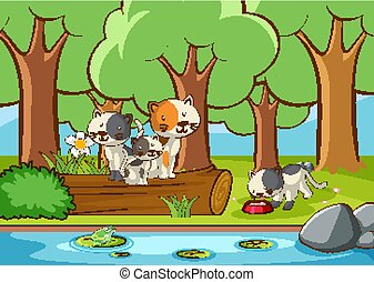 Scene with cats in the garden