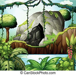 Scene with cave in the deep forest